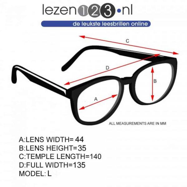 Blueberry leesbril zwart met blauw licht filter L